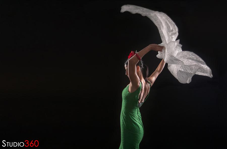 Modelo, estudio, flamenco, gitana, feria, vestido