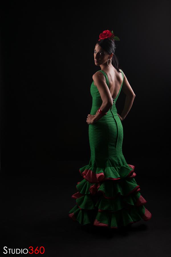 Modelo, estudio, flamenco, gitana, feria, vestido, flamenca