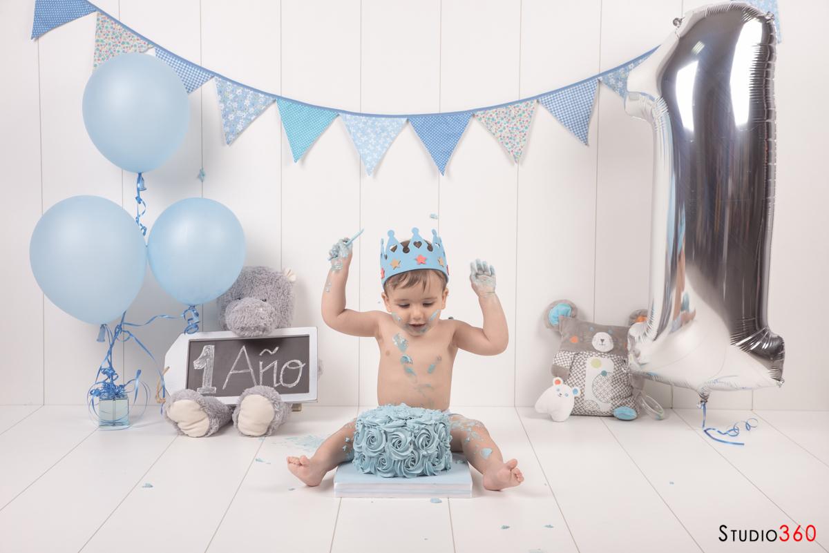 Cake smash sesion estudio cumpleaños